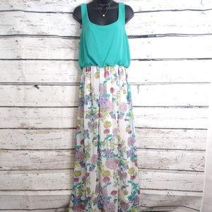 Bisou Bisou/ Teal Green Floral Maxi Dress/ Size 10